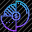 division, finance, market, percentage, sharing icon