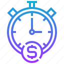 management, measure, money, productivity, time icon