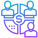 business, distribution, profit, sharing, turnover icon