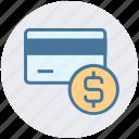 atm card, coin, credit card, debit card, dollar, smart card icon