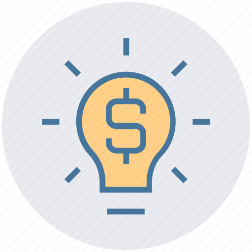 bulb, creativity, dollar, financial, idea, light, money icon