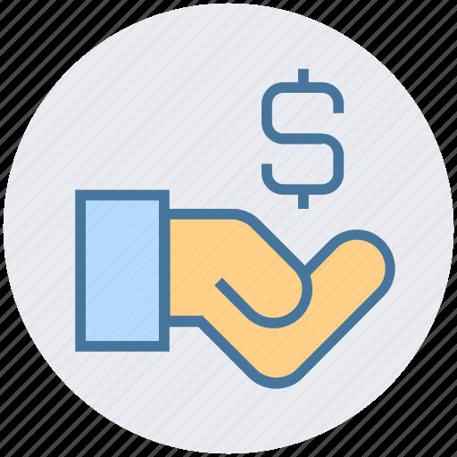 dollar, economy, finance, hand, loan, money, sign icon