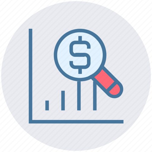 dollar, graph, magnifier, money, search, statistics icon