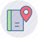 book, ebook, location, magazine, map, navigation, pin icon