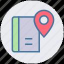book, ebook, location, magazine, map, navigation, pin