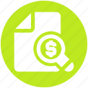 business, dollar, magnifier, money, paper, sheet