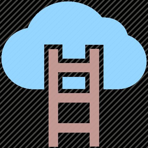 aspiration, cloud computing, cloud hosting, data cloud, stairs icon