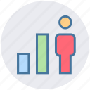 analytics, business, chart, graph, growth, user icon