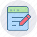 business, html, management, page, pen, pencil, webpage icon