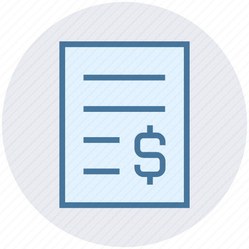 business, dollar, management, page, paper, sign icon