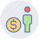 business, coin, dollar, man, money, office, people icon