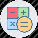 basic, business, calculator, equal, minus, multiply, plus icon