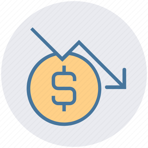 business, dollar coin, down, growth, investment, profit, progress icon