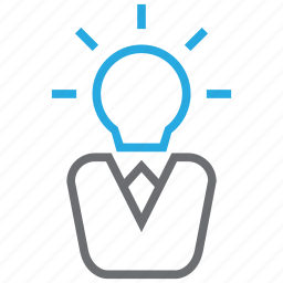 bulb, creative, head, light icon