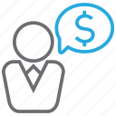 business, cash, currency, discussion, finance, money icon
