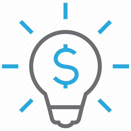 bulb, business, creative, idea, light, money icon