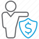cash, invest, money, protector, shield icon