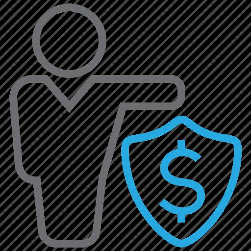 cash, invest, money, protector, shield icon