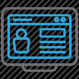 cv, document, job, profile, resume, website icon