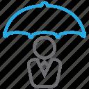 insurance, leader, protection, rain, umbrella, weather icon