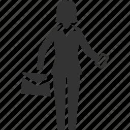briefcase, businesswoman, lady icon
