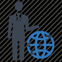 businessman, global business, global communication, worldwide business icon