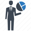 analytics, businessman, chart, graph, pie chart icon