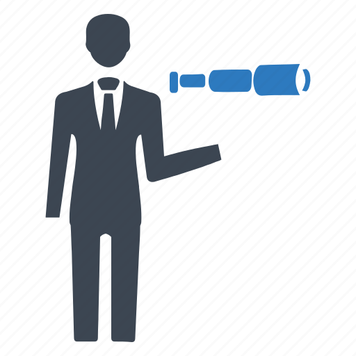 business view, business vision, opportunity, search, spyglass icon