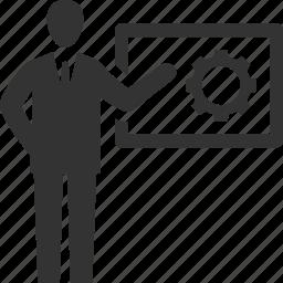 brainstorming, businessman, presentation icon