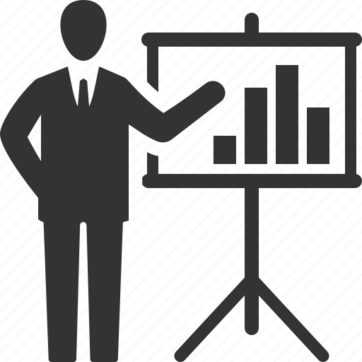 businessman, graph, presentation icon
