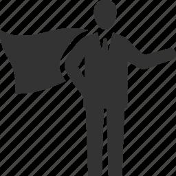 businessman, leader, superhero, superman icon