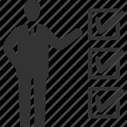 business, businessman, checklist, tasks icon