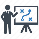businessman, presentation, solution, strategy icon