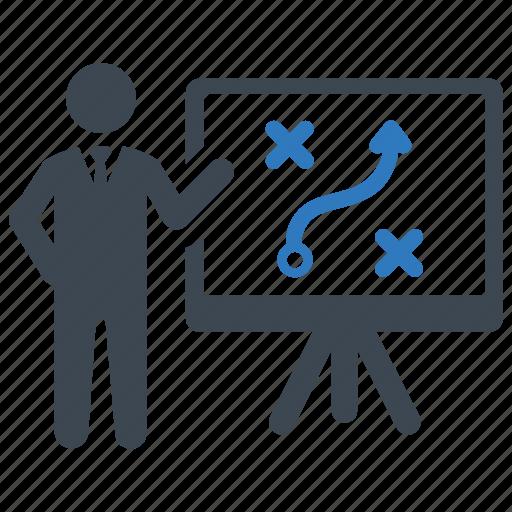 businessman, presentation, solution, strategy icon