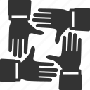 hands, team, teamwork, together icon