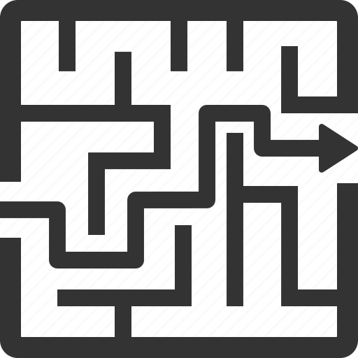 labyrinth, maze, solution, strategy icon