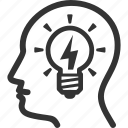 brainstorming, head, idea icon
