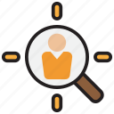 aim, bullseye, goal, head hunter, human, resource, target icon
