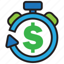 alarm, cash, clock, money, profit, time, timer icon
