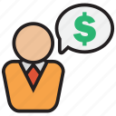 business, cash, currency, discussion, dollar, finance, money icon