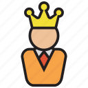 chief, crown, king, leader, manager icon