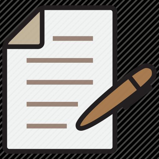 document, file, note, paper, pen icon
