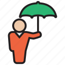 protect, protector, rain, umbrella, weather icon