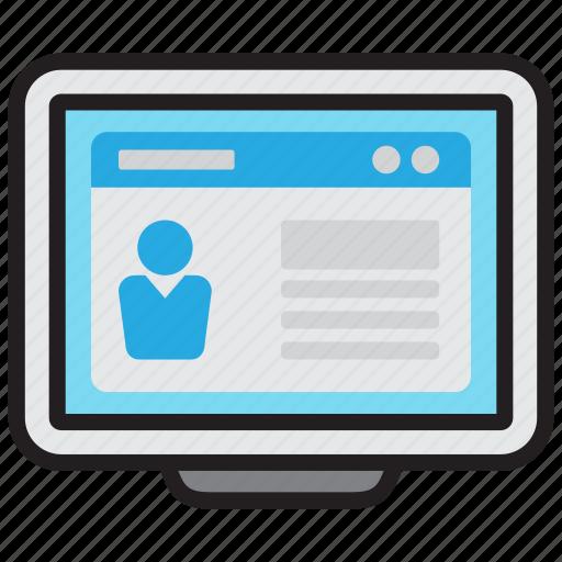 cv, document, job, online, profile, resume, web icon