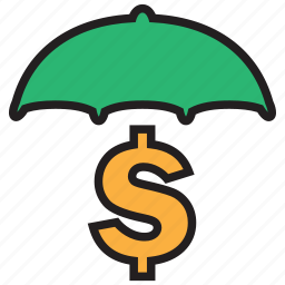 business, cash, currency, finance, money, secure, umbrella icon