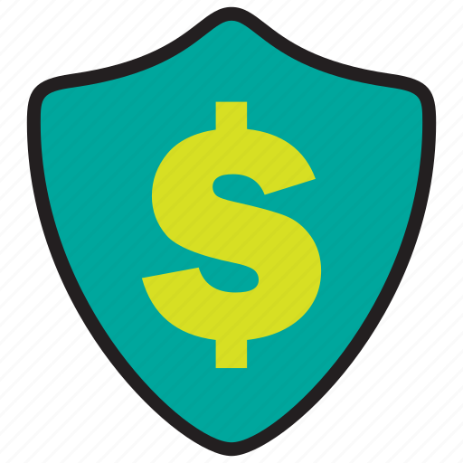 cash, finance, guarantee, protection, secure, security, shield icon