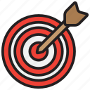 aim, arrow, bullseye, goal, target icon