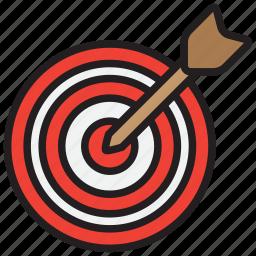 aim, arrow, bullseye, goal, target icon