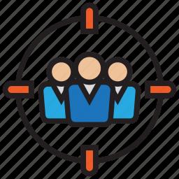 aim, customer, goal, hunter, service, target, user icon