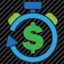 alarm, clock, invest, money, profit, timer, watch icon